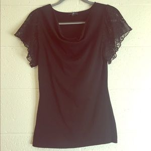 Cowl Neck Shirt with Lace Sleeves