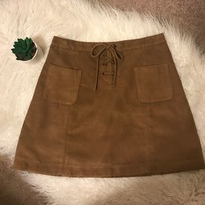 Hollister Co. Lace-Up Suede Skirt