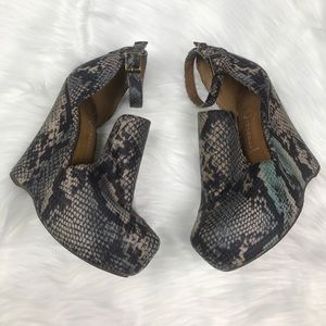 Jeffrey Campbell Snake Print Multicolored Wedges.