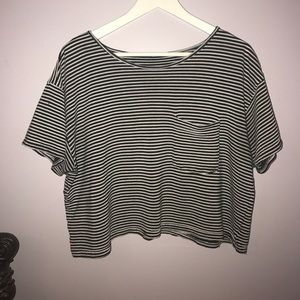 American apparel crop short sleeve striped shirt