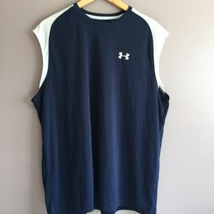 Men's Under Armour Navy Blue and White Tank Sz XL