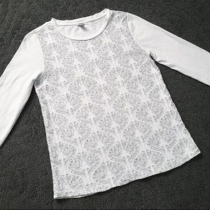 J. Crew White and Gray Embroidered Top