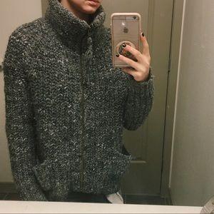 Aritzia (Wilfred Free) Grey Wool Zip-up Sweater
