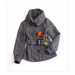 H&M Tweed Belted Funnel Neck Jacket 4