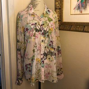 Guess Floral Blouse Size XL NWOT