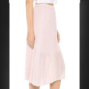 Club Monaco Pink Polka Dot Pleated Skirt