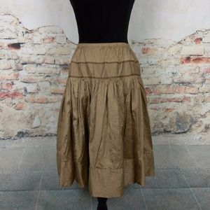 Calypso Christiane Celle Sm Brown Tan Silk Skirt