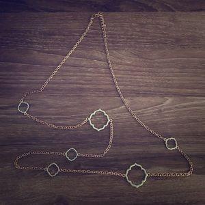 Mint and Gold Quatrefoil Long Statement Necklace