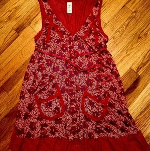 Soft red dress with purple flowers 🏵🥀🏵🥀🏵