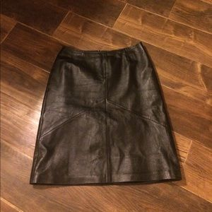 Black leather skirt.