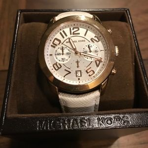 Michael Kors White Leather/Rose Gold Watch