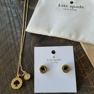 Kate Spade matching spade earrings and necklace