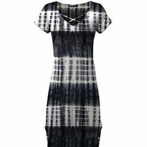 Tie Dye Maxi Dress Slit Sides & Crisscross Neck