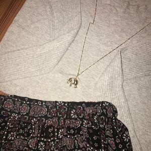 Gray Scoop Neck Sweater Elephant Charm and Skort