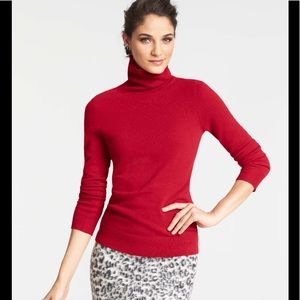 Ann Taylor deep red cashmere sweater