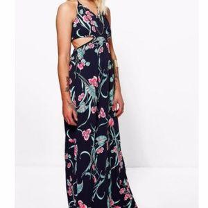 Floral Print Cutout Maxi Dress Sz 4/6