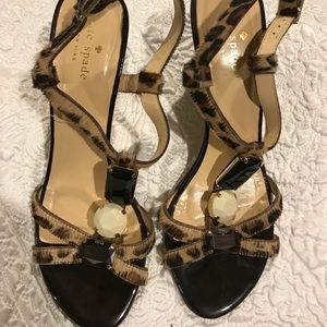 Kate Spade Leopard Pony Hair Beaded Sandals