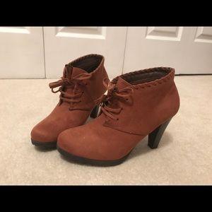 Brown Suede Thick Heel Booties