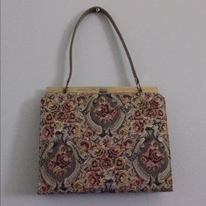 Vintage 50's granny chic top handle tapestry purse