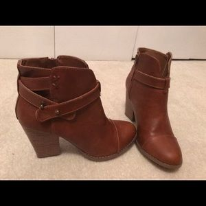 Brown leather chunky heel booties