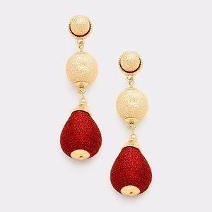 Jewelry - Metal Double Ball Thread Earrings Burgundy