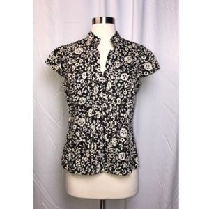 FEI Anthropologie Black Floral Button Up Blouse