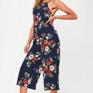 Navy wide leg floral jumpsuit