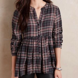 Anthropologie Tylho Peplum Plaid Blouse