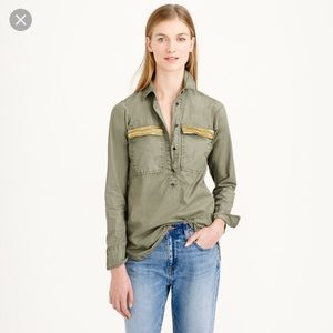 JCrew Military Green Top with Beaded Pockets