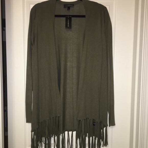 872c400739516 NWT LANE BRYANT olive green duster with tassels
