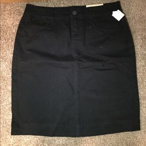 Black Knee Length Skirt front Maurices