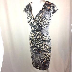 Tracy Reese New York Gray Pattern Dress w/ Pockets