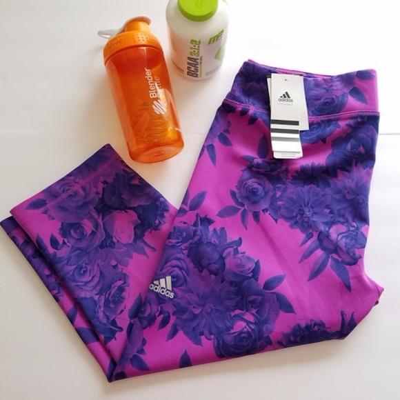 f3928bbe83e540 adidas Pants   Performer Climalite Floral Print Capri   Poshmark