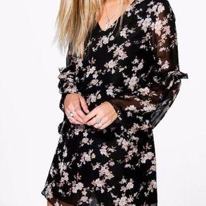 Floral Print Long Sleeve Shift Dress Sz 6