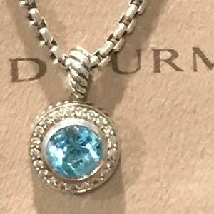 Authentic David Yurman Blue Topaz with Diamonds