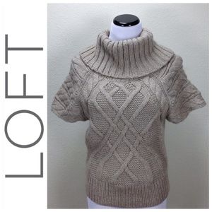 Loft Tan Cable Knit Bulky Turtle Neck Sweater