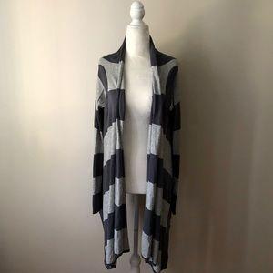BCBGMaxAzria gray striped cardigan size small