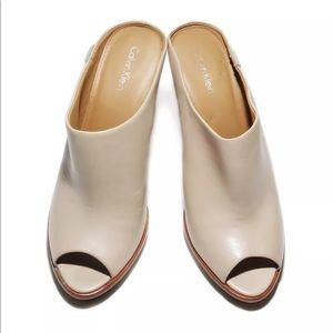 Calvin Klein open toe mule heels