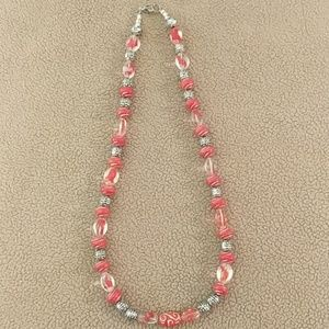 Red/Silver & Red Swirl Translucent Beads Necklace