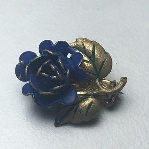 Jewelry - Vintage Germany Blue Flower Lapel Pin