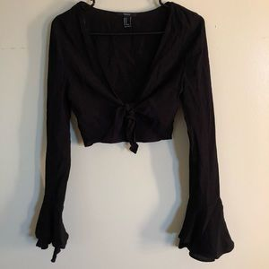 F21 cropped tie long sleeve