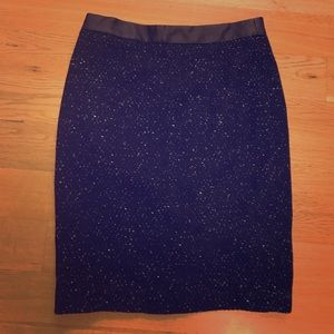 Ann Taylor dark blue skirt with leather trim