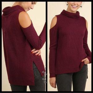 Mock neck cold shoulder sweater