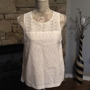 J. Crew Seam Shell in Zigzag Eyelet Top. Size 10