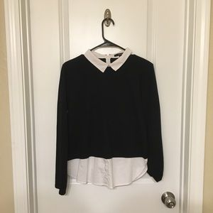 Black Sweater over Fake Button Up