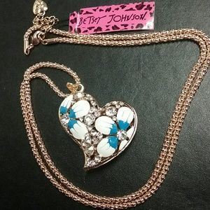 Betsey Johnson heart floral crystal necklace