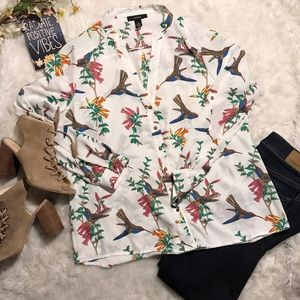 Alfani Bird & Floral Print Blouse