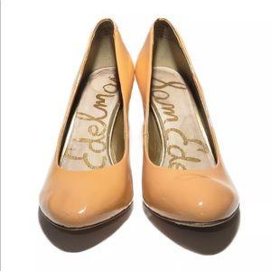 "Sam Edelman ""Camdyn"" tan patent leather heels"