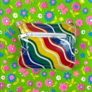 1970s rainbow striped collapsible tote bag wallet