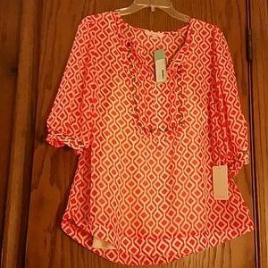 Orange and white 41Hawthorn blouse, L, NWT